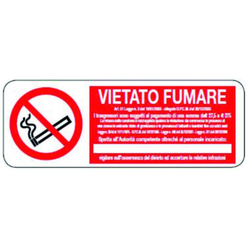 CARTELLO VIETATO FUMARE ART 51