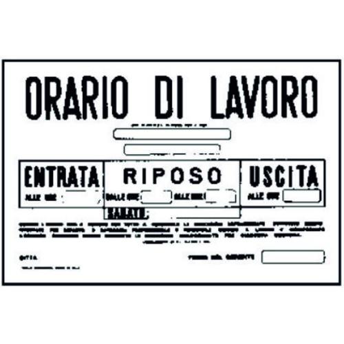 CARTELLO ORARIO DI LAVORO